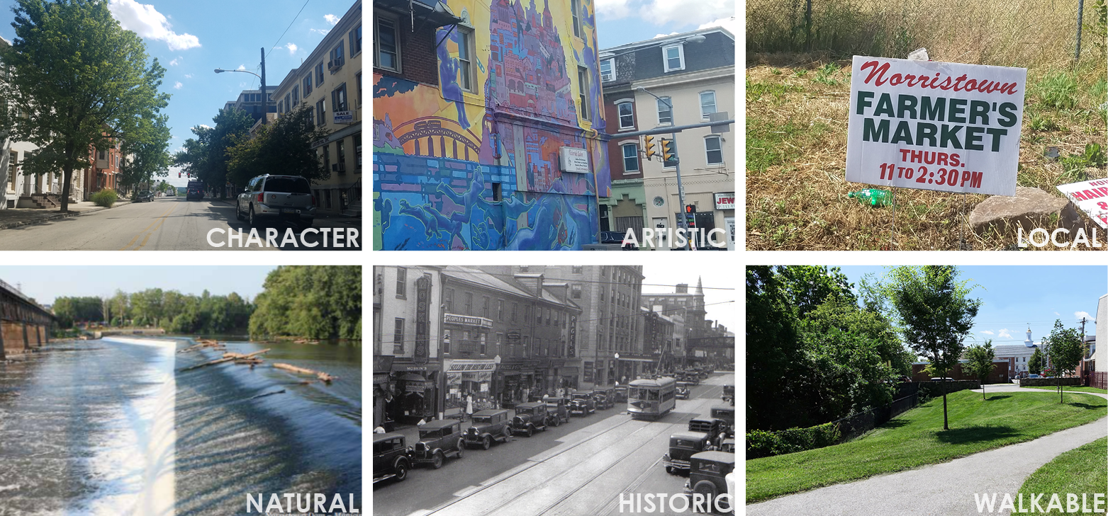 Character, Artistic, Local, Natural, Historic, Walkable Collage