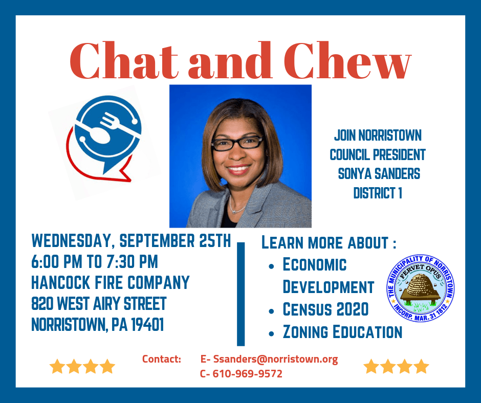 Chat and chew flyer with council president Sonya Sanders