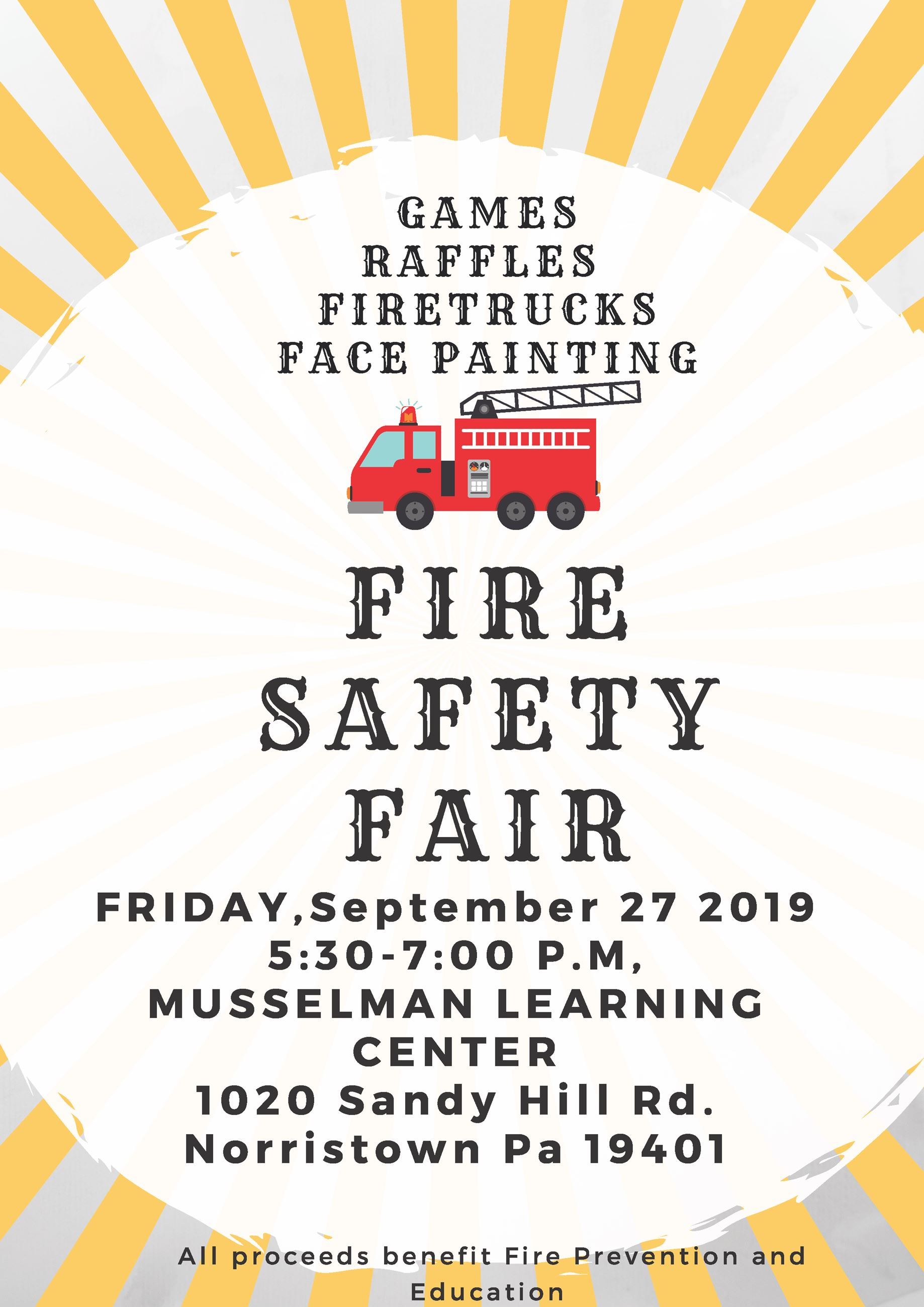 Fire safety fair flyer with red fire truck