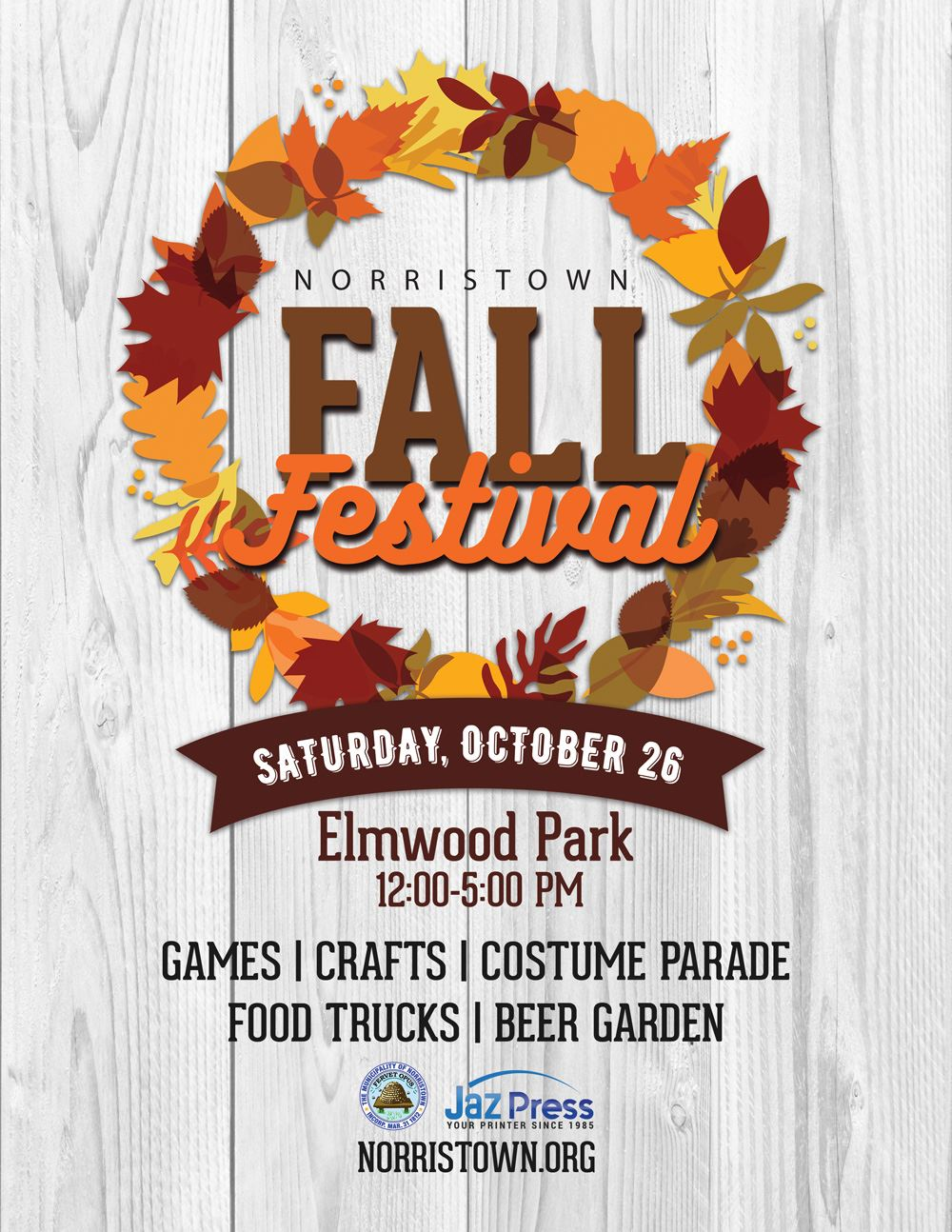 norristown fall festival on October 26th at elmwood park