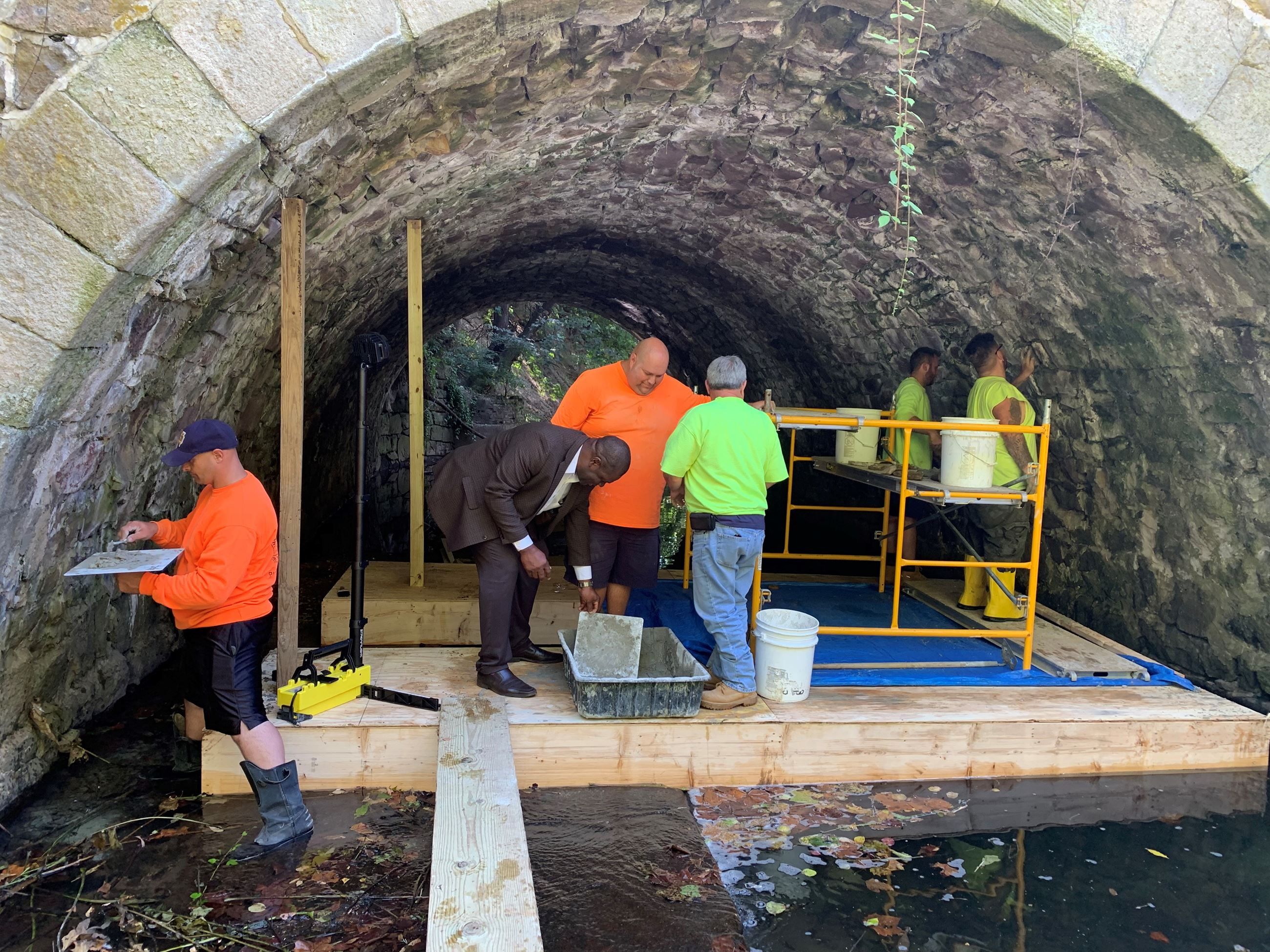 Public Works Repairing bridge