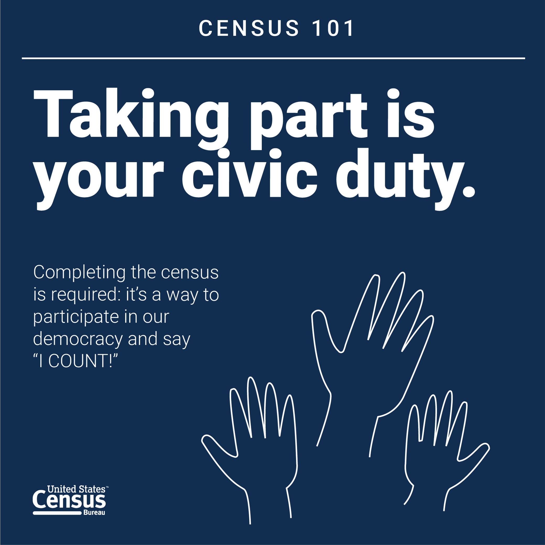 navy blue census 101 flyer