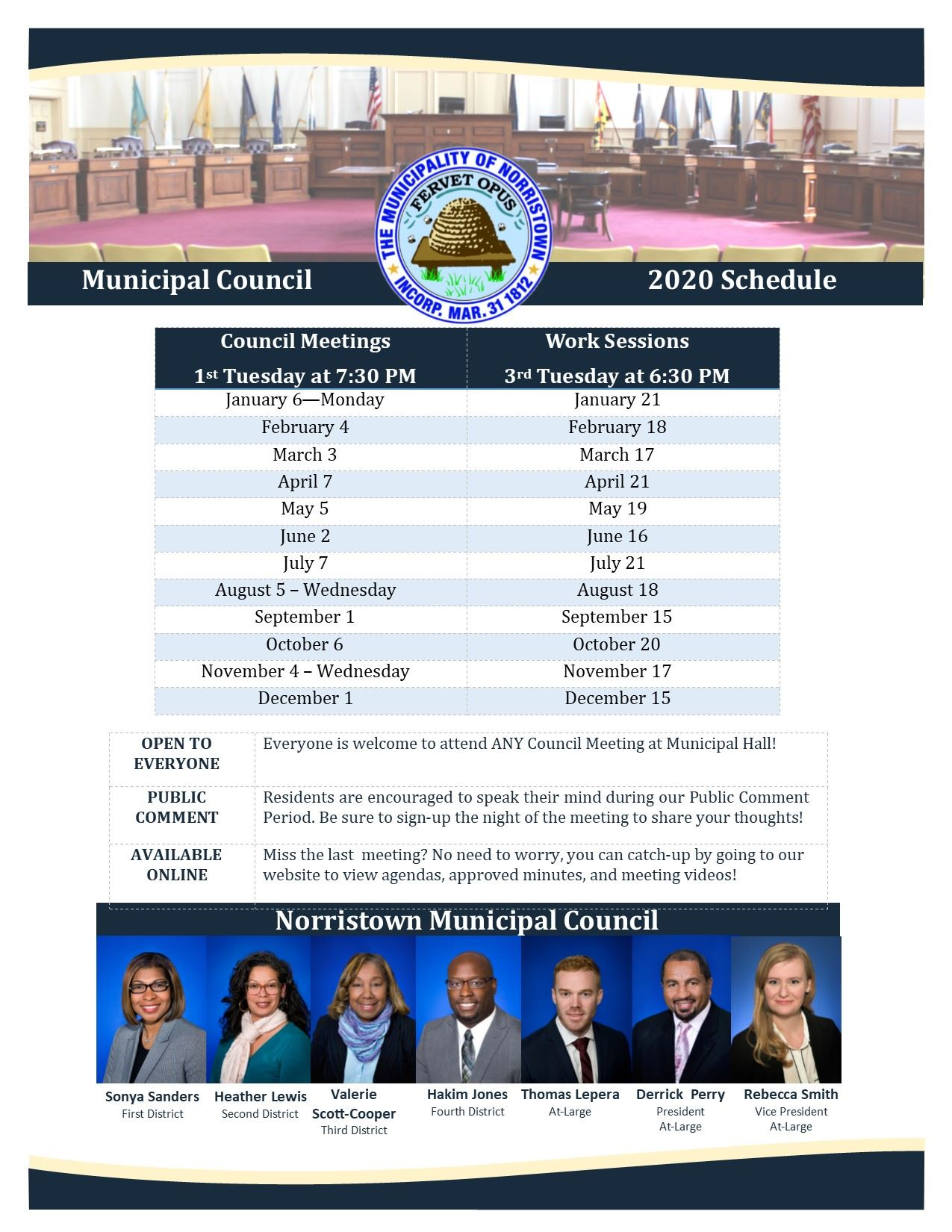 2020 Council Meeting Schedule
