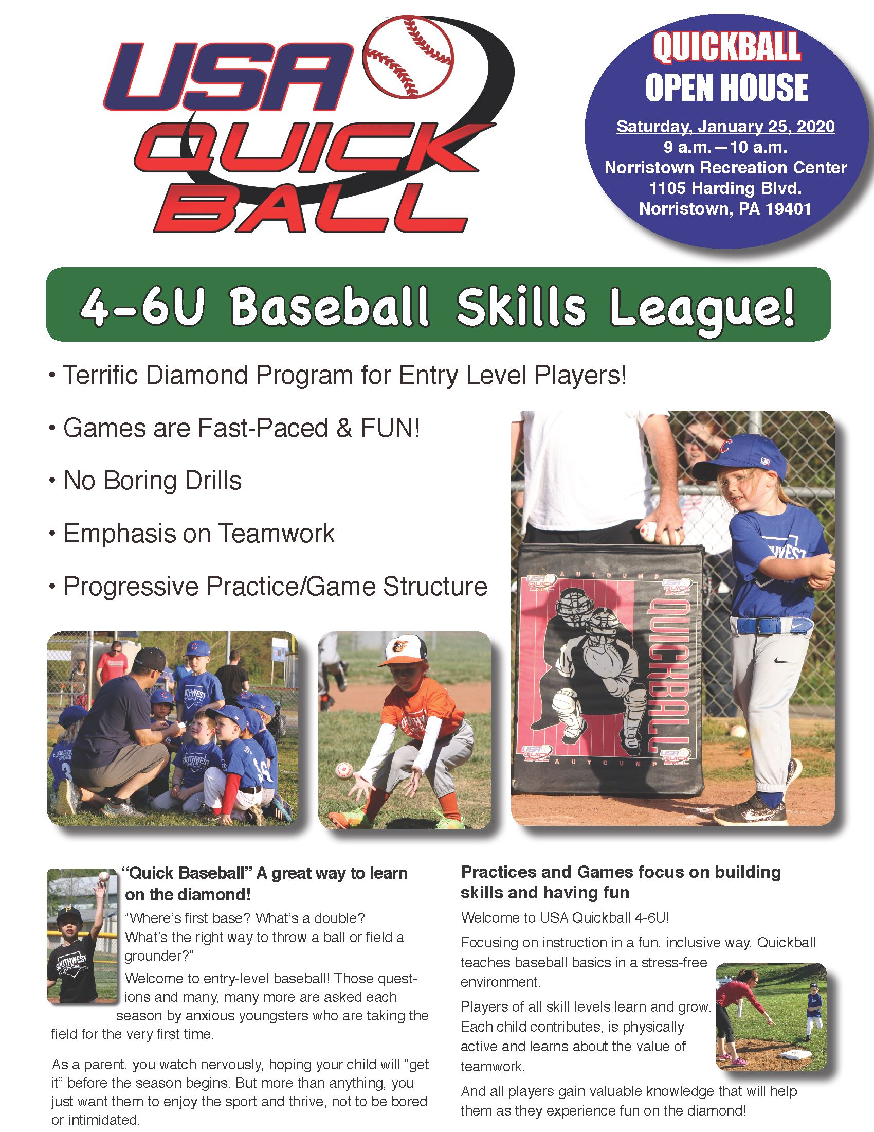 Quickball 6U Brochure Flyer Open House Norristown