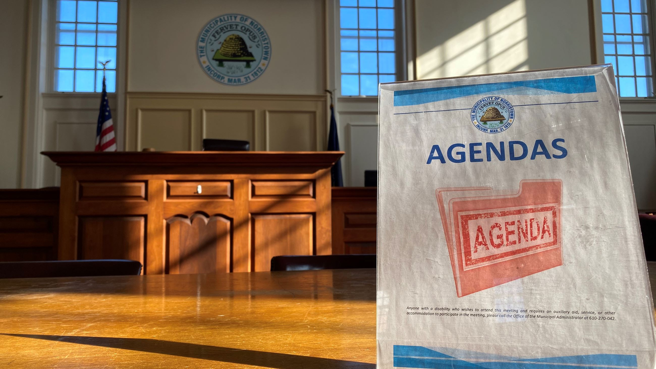 Agenda sign in council chambers