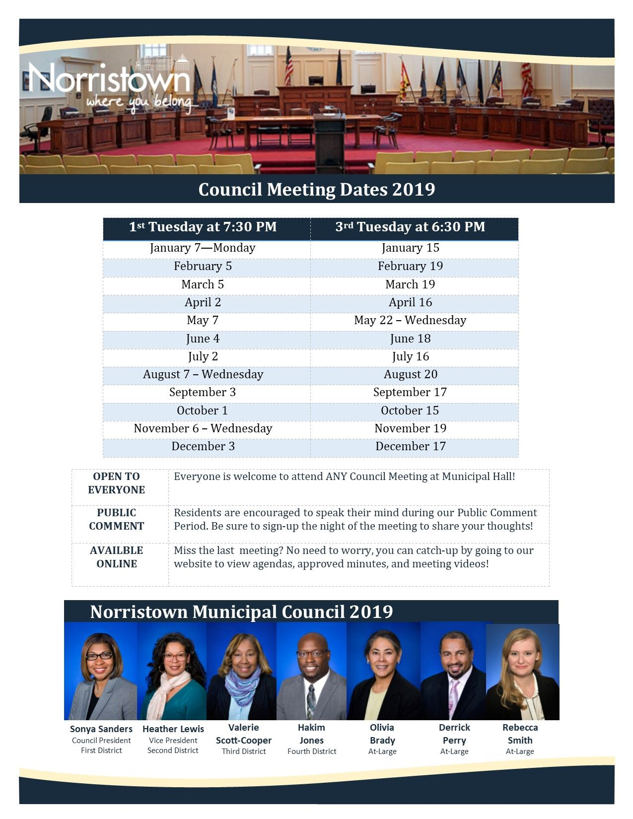 2019 Council Meeting Schedule