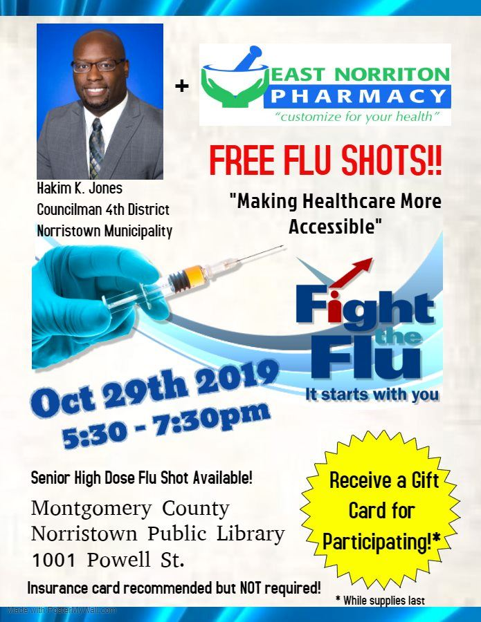 Councilman Hakim Jones photo on the Flu Clinic flyer