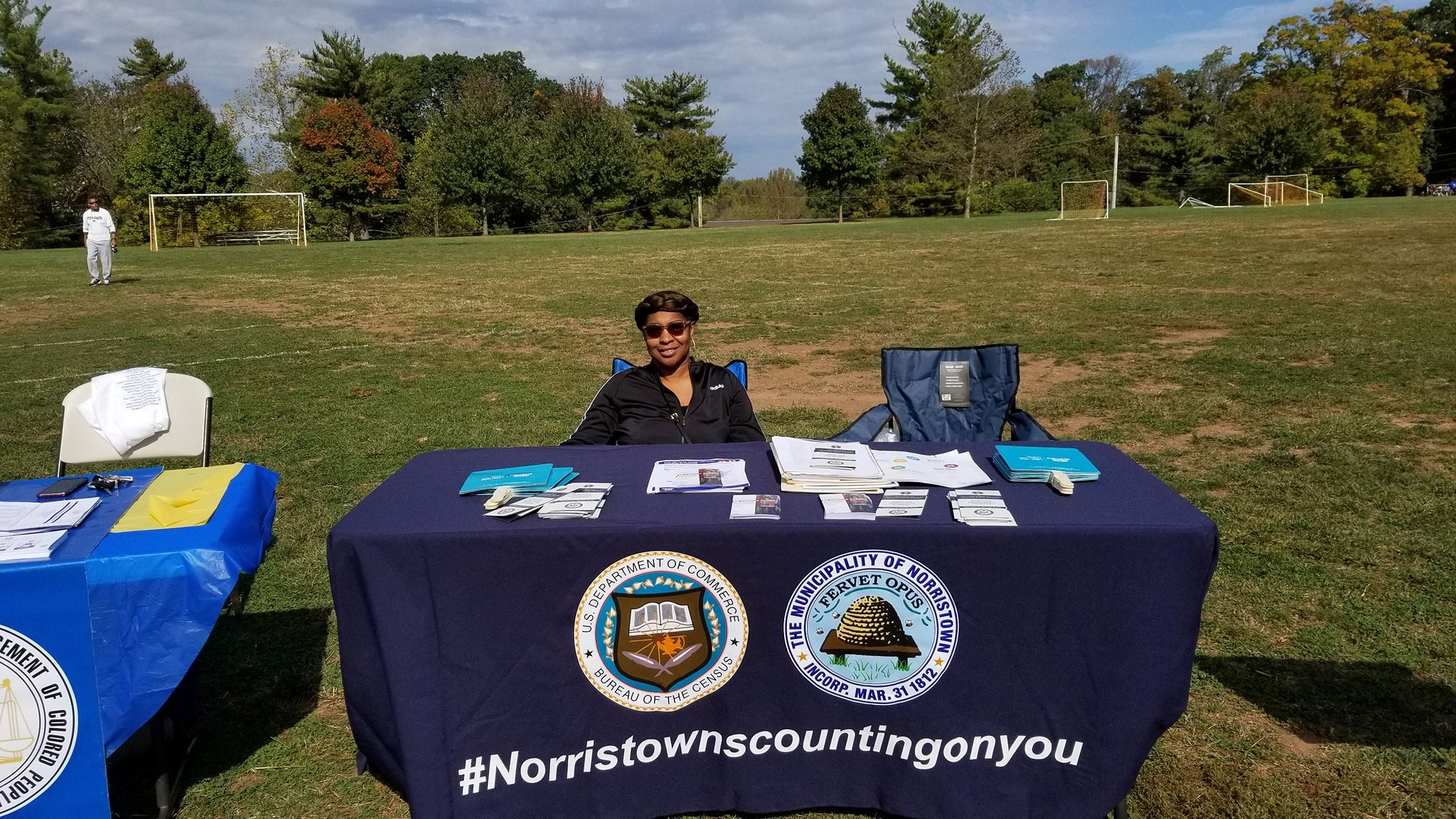 Councilwoman Sonya Sanders at the information table at Community Softball Game